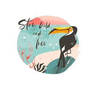 Desenho abstrato desenho animado, horário de verão, ilustrações gráficas, modelo de crachá de fundo com paisagem de praia do oceano, pôr do sol e pássaro tucano de beleza com texto tipográfico stay wild e free