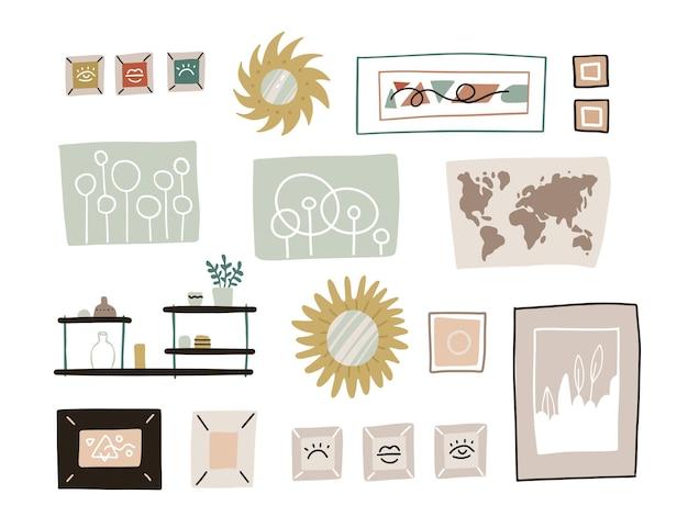 Desenho abstrato desenho animado moderno quadros gráficos conjunto de ilustrações de coleção. decoração de parede - espelho, mapa e prateleiras. arte moderna isolada no fundo branco.