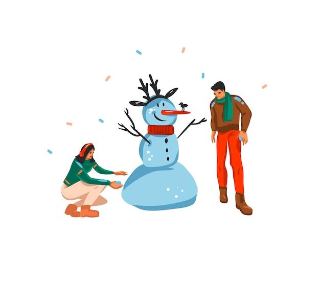 Desenho abstrato divertido estoque plano feliz natal e feliz ano novo tempo cartoon cartão festivo com ilustrações bonitos de casal de natal fazendo boneco de neve juntos, isolado no fundo branco.