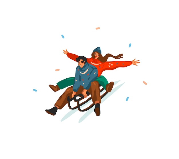Desenho abstrato divertido estoque plano feliz natal e feliz ano novo tempo cartoon cartão festivo com ilustrações bonitos de casal de natal trenó isolado no fundo branco.