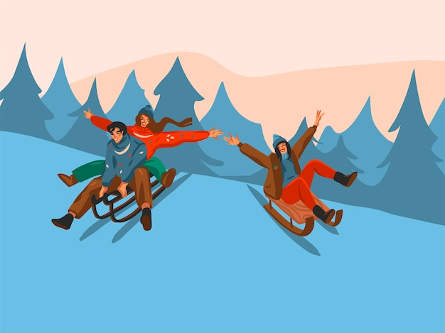 Desenho abstrato divertido estoque plano feliz natal e feliz ano novo tempo cartoon cartão festivo com ilustrações bonitos de natal casal trenó juntos isolado no fundo da paisagem de inverno.