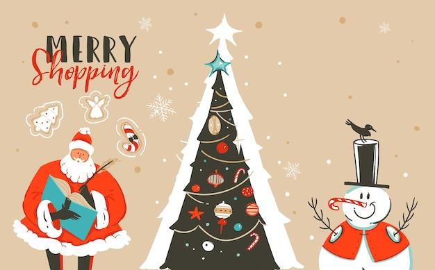 Desenho abstrato divertido ilustração dos desenhos animados do feliz natal