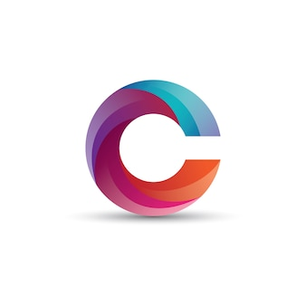 Desenho abstrato do logotipo da letra do gradiente c com efeito lustroso