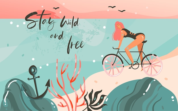 Desenho abstrato dos desenhos animados das ilustrações gráficas de verão do fundo do modelo com a paisagem da praia do oceano, pôr do sol, menina da beleza na bicicleta e texto de citação da tipografia stay wild e grátis.