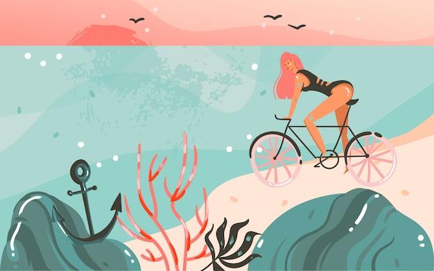 Desenho abstrato dos desenhos animados do fundo do modelo das ilustrações gráficas do horário de verão com a paisagem da praia do oceano, pôr do sol, menina da beleza na bicicleta e espaço de cópia para o seu texto