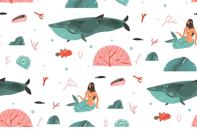 Desenho abstrato dos desenhos animados gráficos tempo de verão subaquático ilustrações sem costura padrão com baleia grande, peixes e personagens de meninas sereia isoladas no fundo branco.