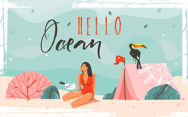 Desenho abstrato dos desenhos animados, horário de verão, ilustrações gráficas cena de fundo com praia de areia do mar, ondas azuis, pássaro tucano, personagem de menina e citação de tipografia hello ocean.