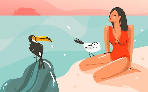Desenho abstrato dos desenhos animados, horário de verão, ilustrações gráficas de fundo de modelo de arte com paisagem de praia do oceano, pôr do sol rosa, pássaro tucano e menina da beleza com espaço de cópia para o seu