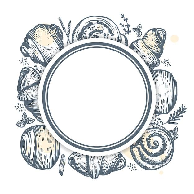 Desenho abstrato para padaria ou confeitaria com mão desenhada
