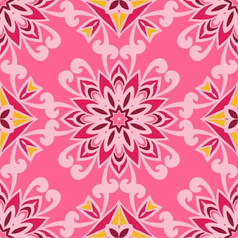 Desenho abstrato vintage rosa floral étnico azulejo decorativo sem costura