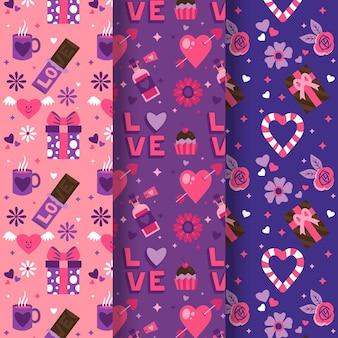 Desenho adorável coleção de padrões do dia dos namorados