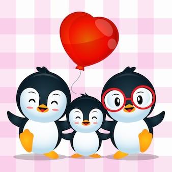 Desenho adorável de família de pinguins fofos