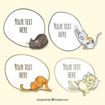 Desenho adorável gatos com balões de fala