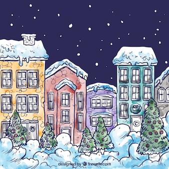 Desenho aldeia de neve