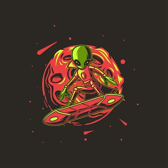 Desenho alienígena com ilustração de surf de fundo de lua
