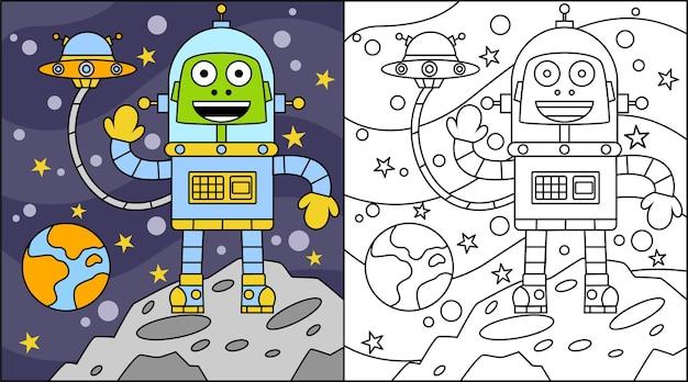 Desenho alienígena de livro para colorir