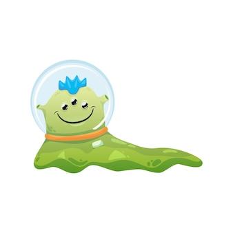 Desenho alienígena verde viscoso e fofo em traje espacial