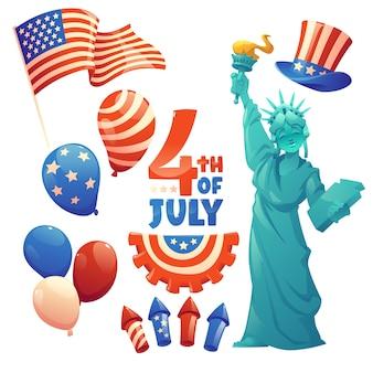 Desenho animado 4 de julho - coleção de elementos do dia da independência