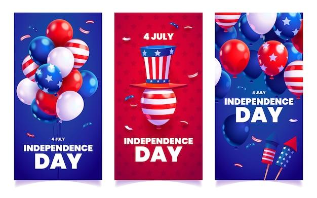 Desenho animado 4 de julho - conjunto de bandeiras do dia da independência