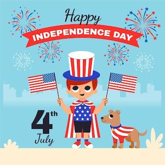 Desenho animado 4 de julho - ilustração do dia da independência