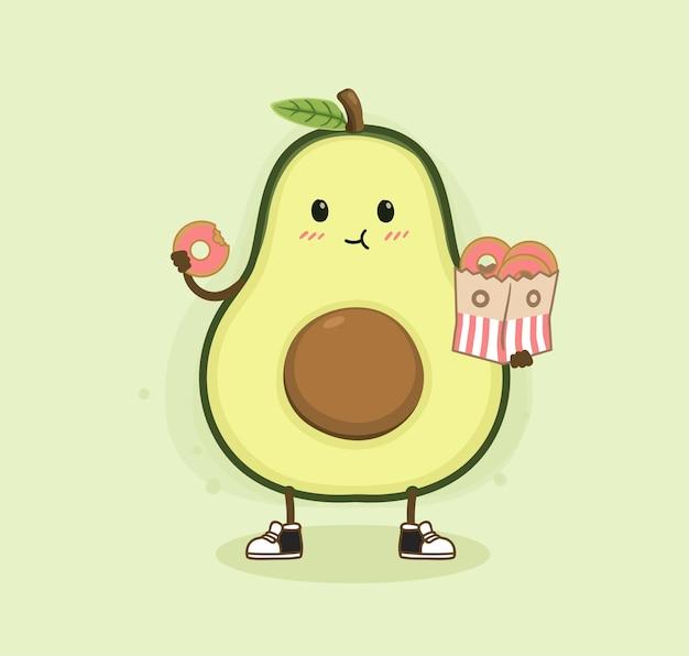 Desenho animado abacate comendo rosquinha