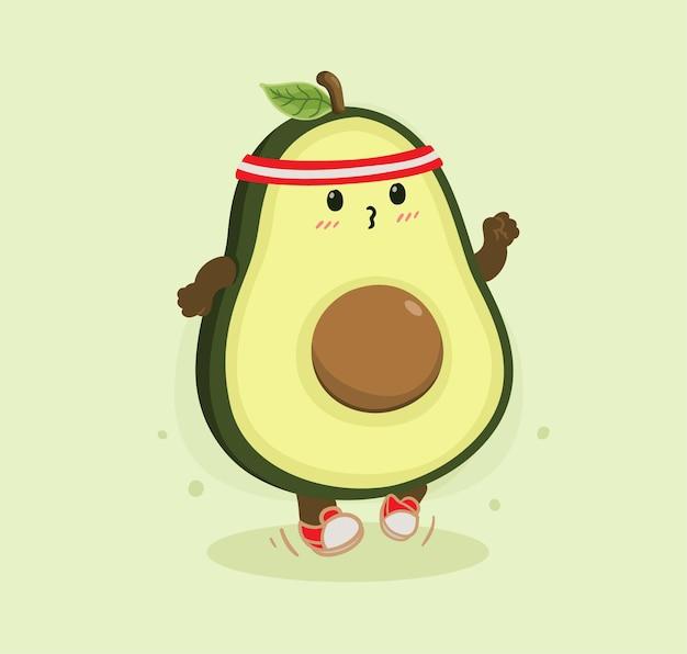 Desenho animado abacate correndo