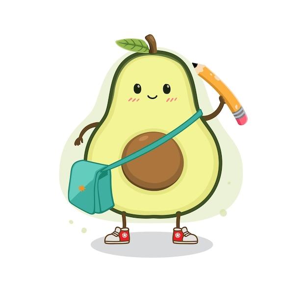 Desenho animado abacate de volta à escola