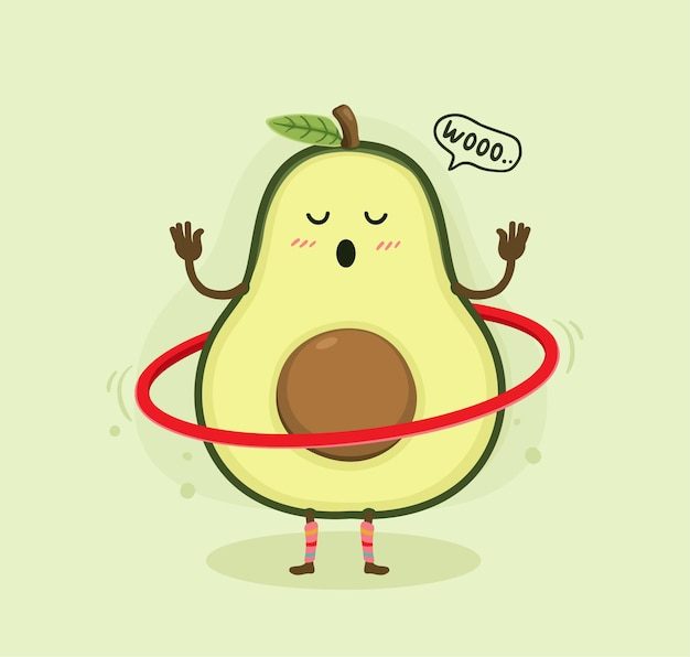 Desenho animado abacate hulahoop