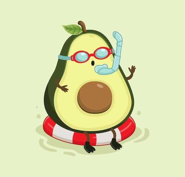 Desenho animado abacate nadando