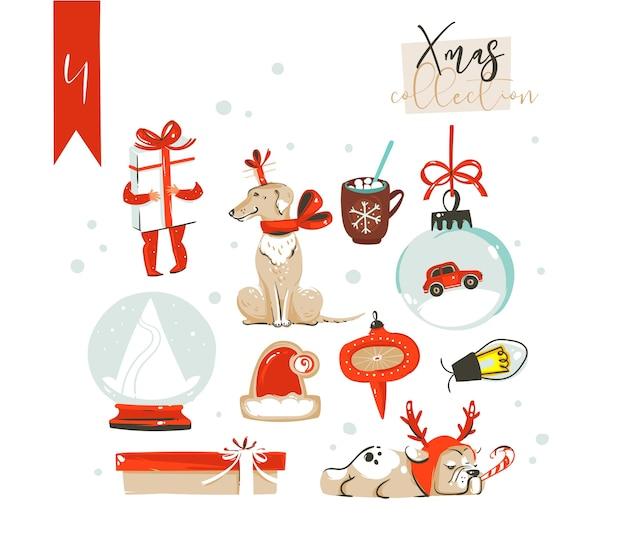 Desenho animado abstrato divertido ilustrações clássicas de feliz natal