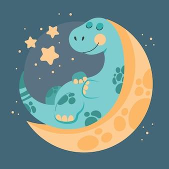 Desenho animado adorável bebê dinossauro ilustrado