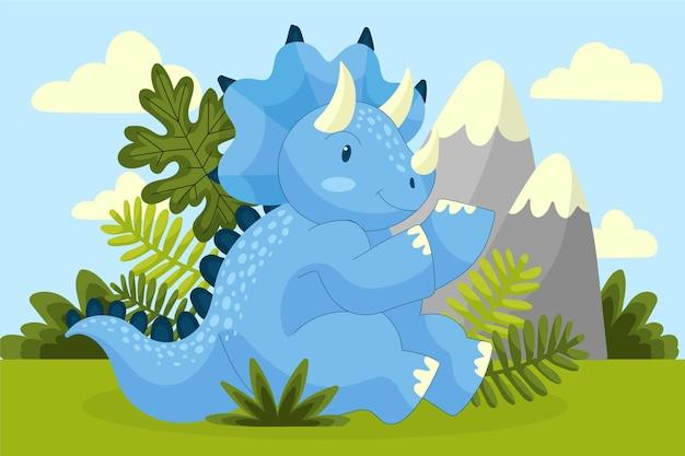 Desenho animado adorável bebê dinossauro
