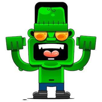Desenho animado alegre monstro desenho animado sinal para impressão, em quadrinhos, moda, pop art