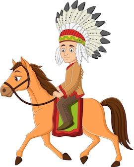 Desenho animado americano indiano cavalgando um cavalo