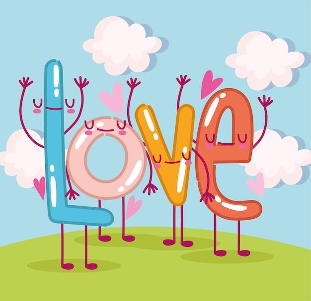 Desenho animado amor fofo