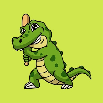 Desenho animado animal crocodilo jogando beisebol com logotipo do mascote