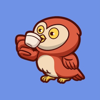 Desenho animado animal design coruja bebendo uma xícara de café mascote fofo