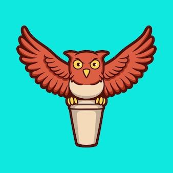 Desenho animado animal design coruja traz um copo de bebida logotipo bonito do mascote