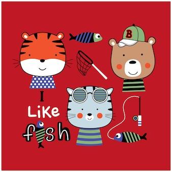 Desenho animado animal engraçado da equipe de pesca