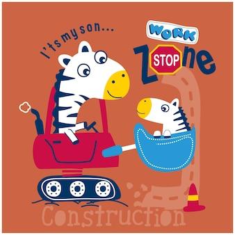 Desenho animado animal engraçado da família da zebra na escavadeira