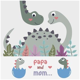 Desenho animado animal engraçado da família de dinossauros