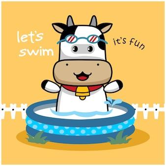 Desenho animado animal engraçado da vaca na piscina