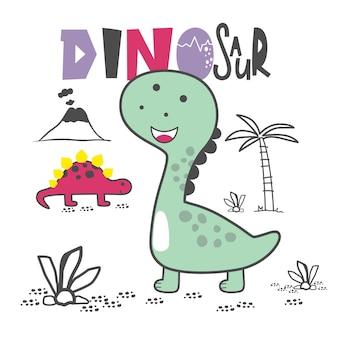 Desenho animado animal engraçado da vida selvagem do dinossauro