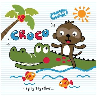 Desenho animado animal engraçado de crocodilo e macaco