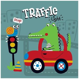 Desenho animado animal engraçado de crocodilo no carro