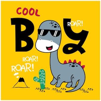 Desenho animado animal engraçado de dinossauro legal