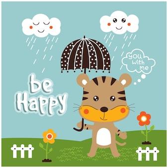Desenho animado animal engraçado de gato e nuvem