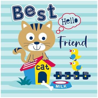 Desenho animado animal engraçado de gato e pato