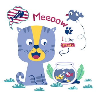 Desenho animado animal engraçado de gato e peixe