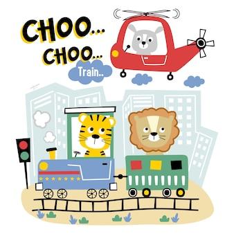 Desenho animado animal engraçado de trem e helicóptero